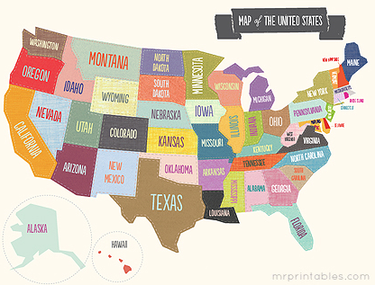 ... for a project. It is a cool free printable map of the United States