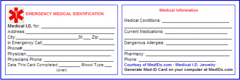 in case of emergency cards templates printable identification